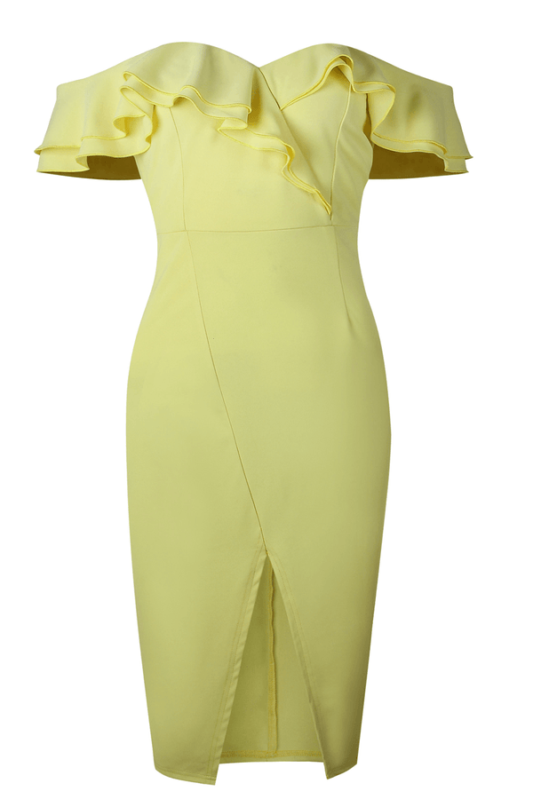 Chic Party Double Ruffle Design Yellow Dress ohmylady/Dresses OML