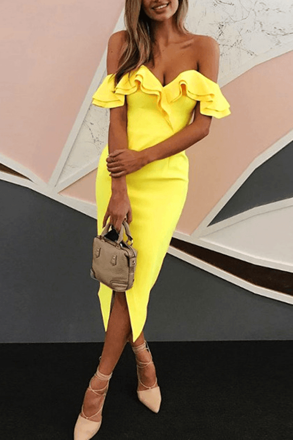 Chic Party Double Ruffle Design Yellow Dress ohmylady/Dresses OML S YELLOW