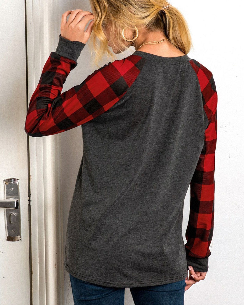 Christmas Print Checkered V-neck Top - Red oh!My Lady