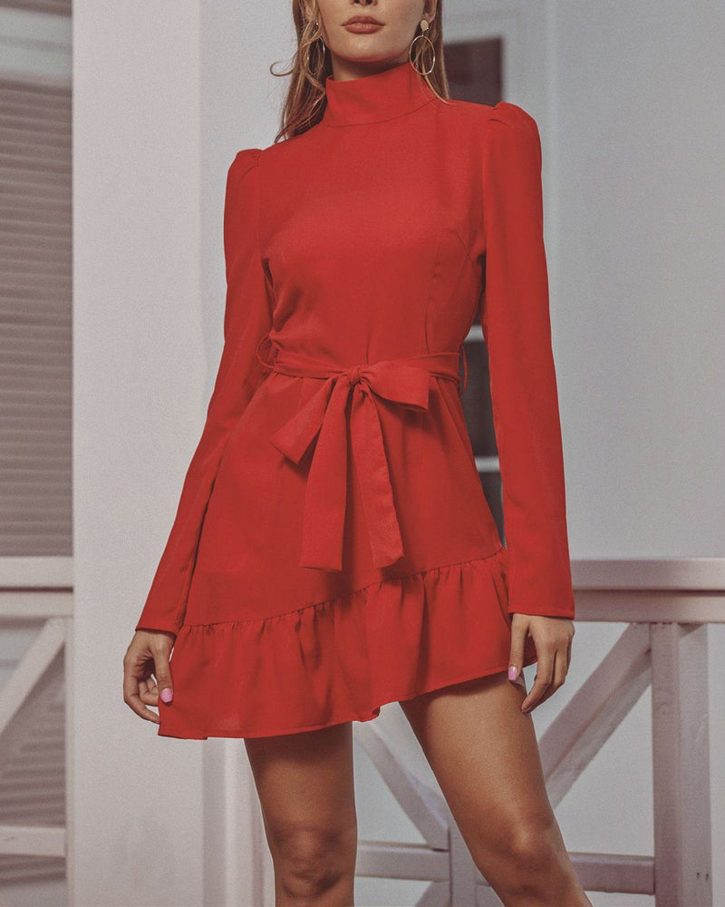 Christmas Red Stand Collar Dress oh!My Lady