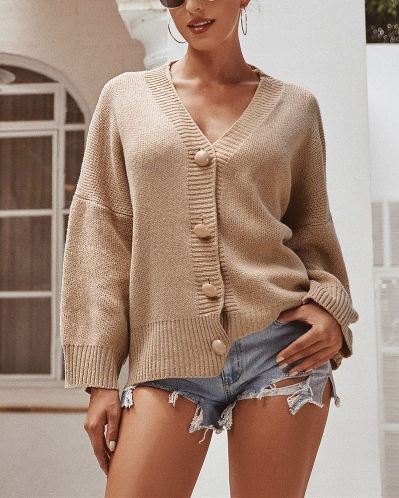 Chunky Knit Cardigan - Khaki oh!My Lady