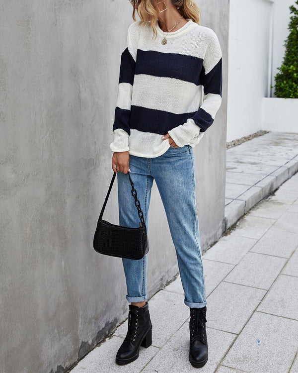Colorblock Stripe Sweater - Black oh!My Lady