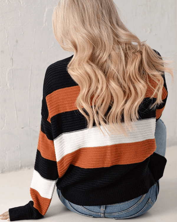 Colorblock Striped Knit Sweater oh!My Lady