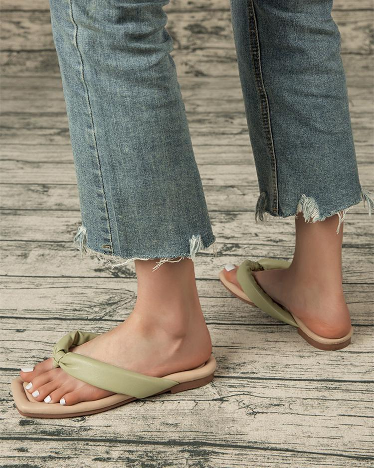 Comfort Flat Flip Flops - Green Sandals oh!My Lady