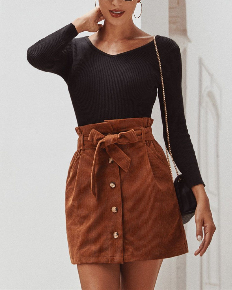 Corduroy High Waist Flower Bud Skirt oh!My Lady