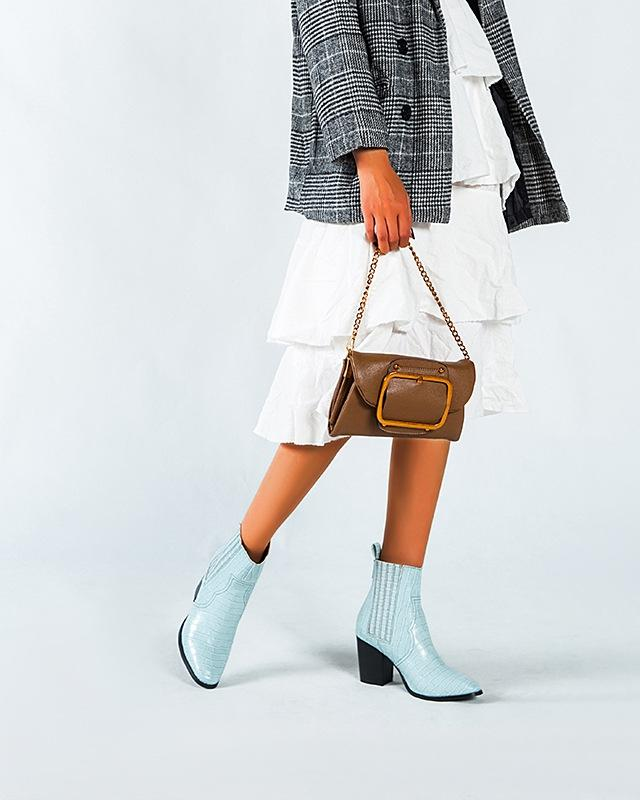 Crocodile Pattern Leather Boots - Blue oh!My Lady