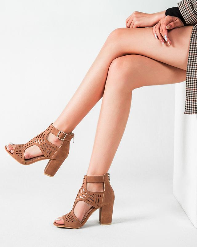 Cut Out Peed Toe Heeled Buckle Sandals - Brown oh!My Lady