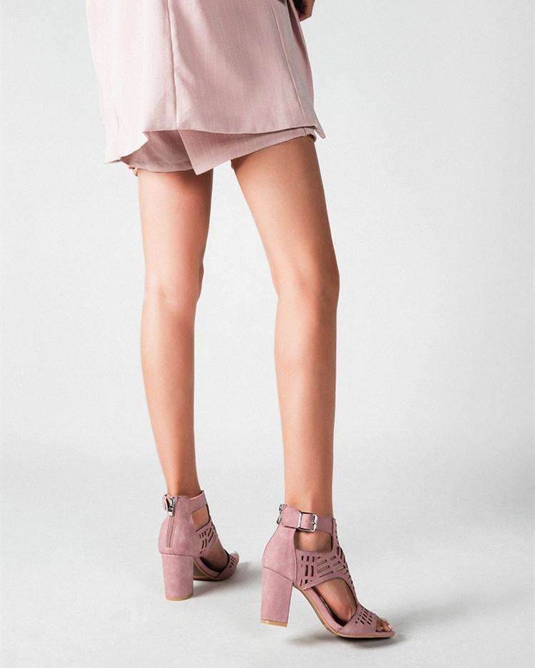 Cut Out Peed Toe Heeled Buckle Sandals - Pink oh!My Lady