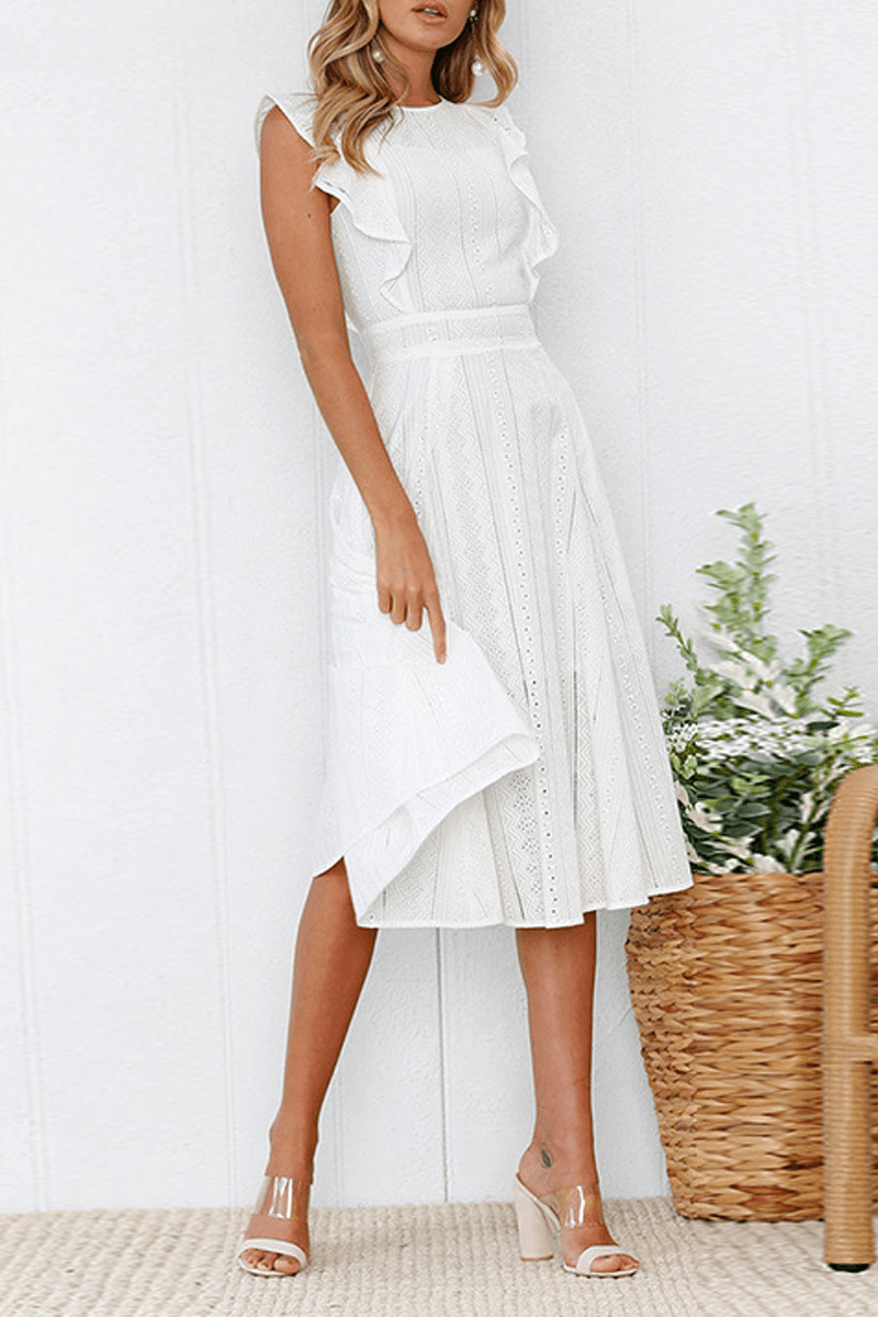Elegant Flounce Lace Design Mid Calf Dress(2 Colors) ohmylady/Dresses - x OML
