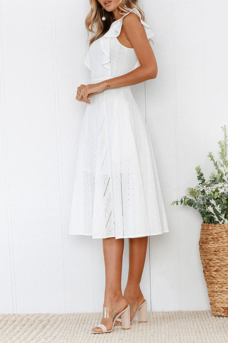 Elegant Flounce Lace Design Mid Calf Dress(2 Colors) ohmylady/Dresses - x OML S WHITE