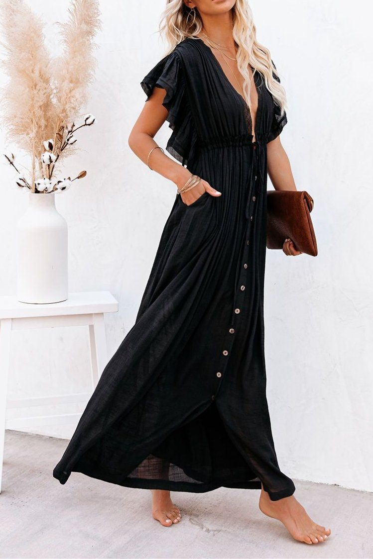 Endless Love Button-Down Ruffle Maxi Dress - Black ss-VCC - x oh!My Lady