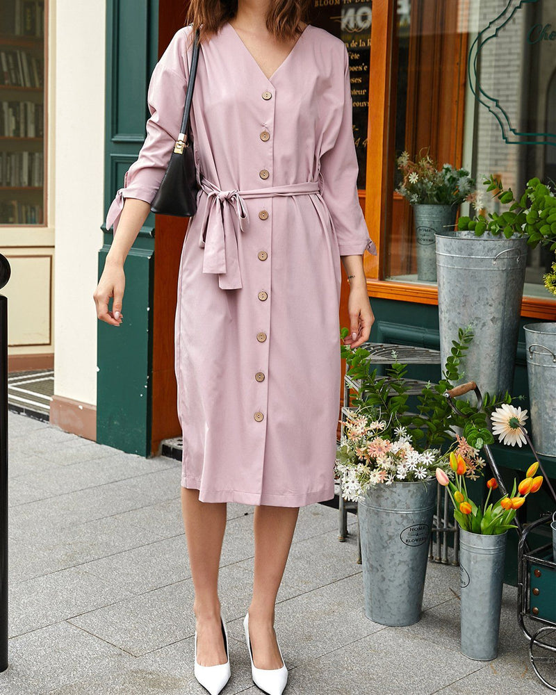 Endless Tender Chic Belt Dress - Pink oh!My Lady