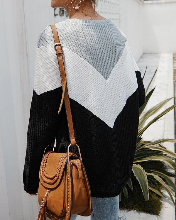 Everlasting Impression Colorblock Knit Top - Black oh!My Lady