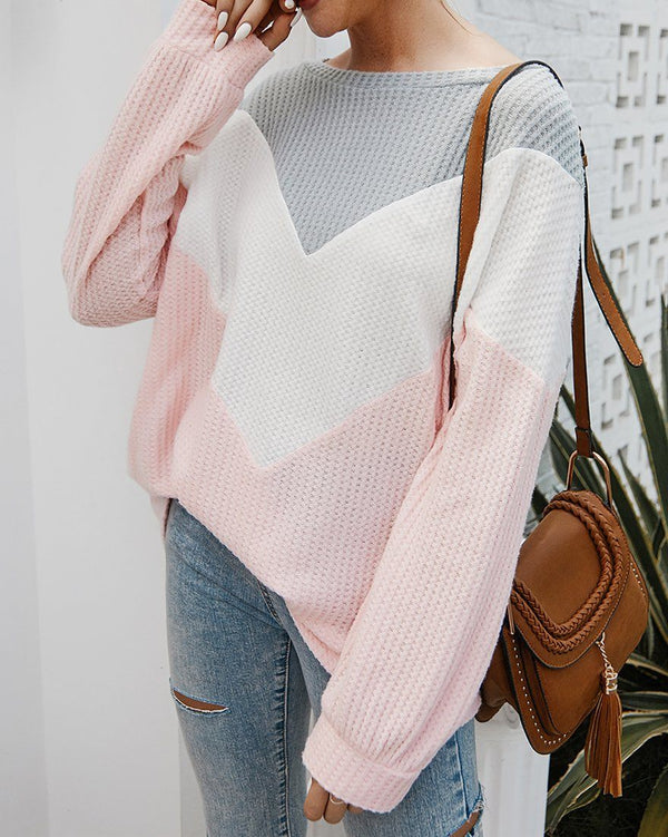 Everlasting Impression Colorblock Knit Top - Pink oh!My Lady