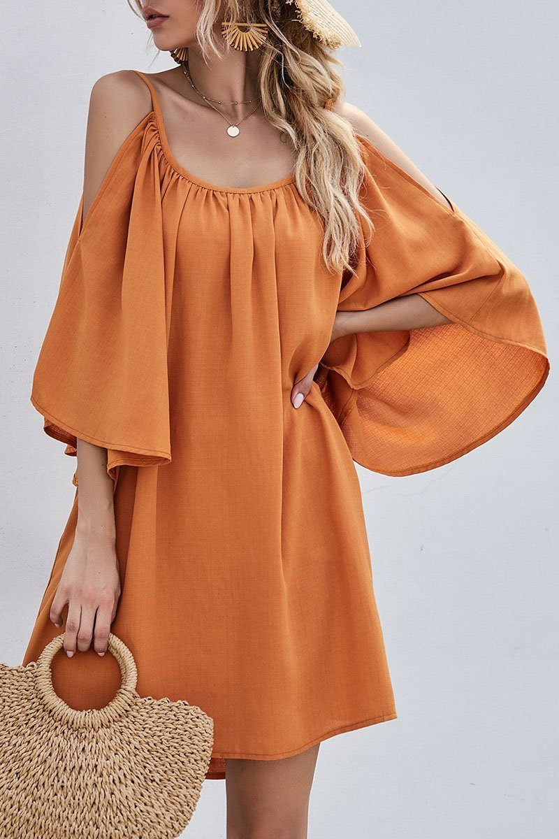 Fashion Casual Solid Hollowed Out Spaghetti Strap Princess Dresses ohmylady/Dresses OML Orange S