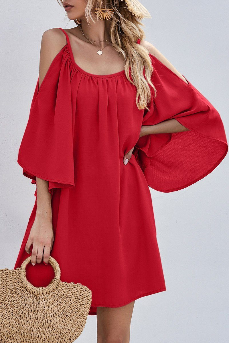 Fashion Casual Solid Hollowed Out Spaghetti Strap Princess Dresses ohmylady/Dresses OML Red S