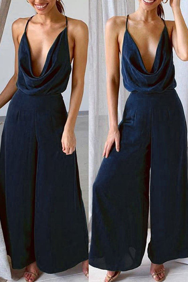 Fashion Sexy Solid Backless V Neck Loose Jumpsuits Florcoo/Set OML Navy Blue S