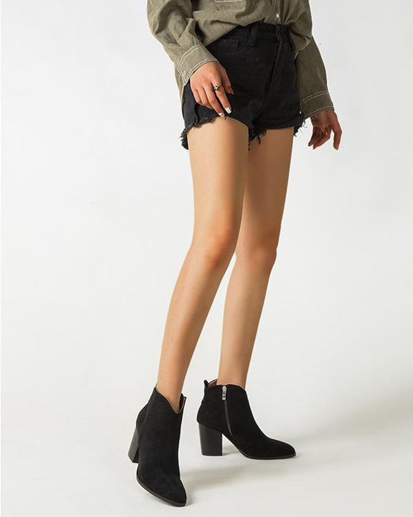 Faux Suede Ankle Boots - Black oh!My Lady
