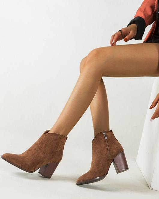 Faux Suede Ankle Boots - Brown oh!My Lady
