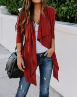 Faux Suede Pocketed Drape Jacket oh!My Lady