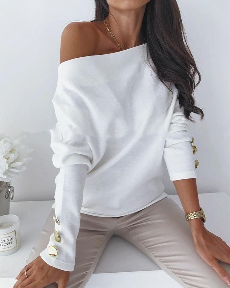 Find Your Inspiration Off the Shoulder Sweater - White ss-tops oh!My Lady