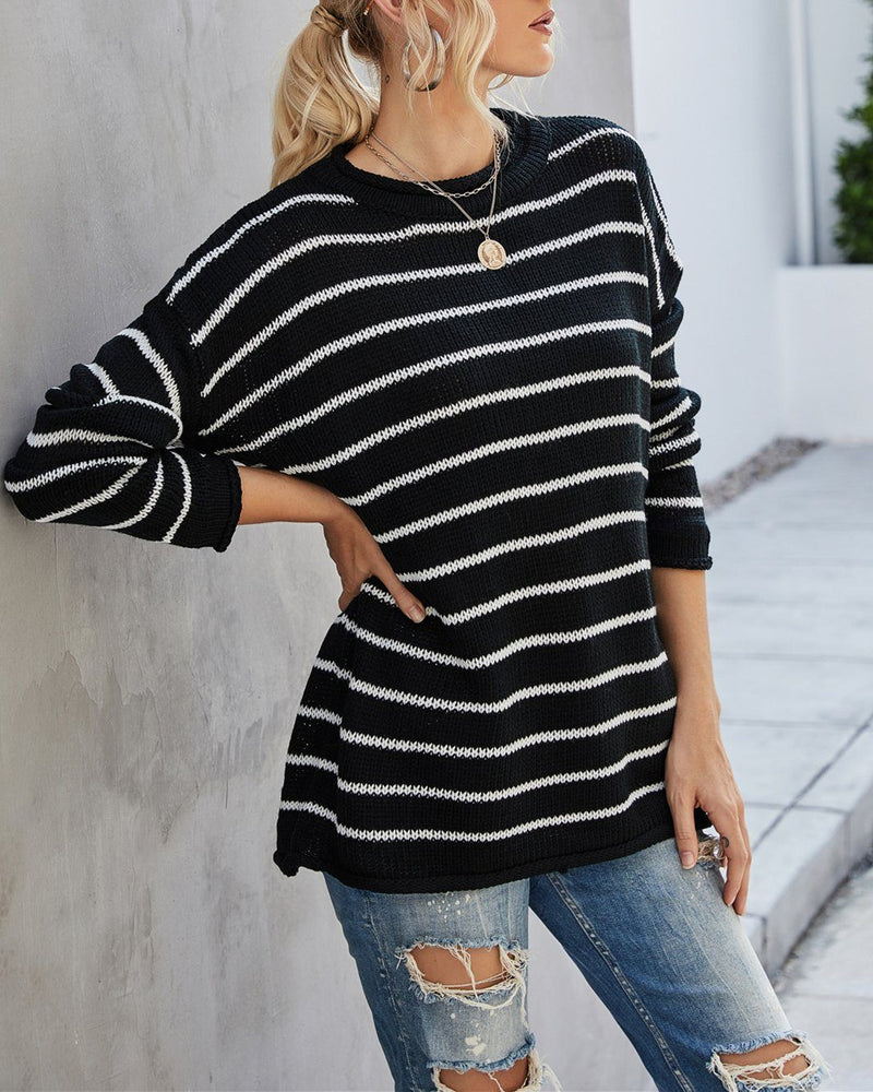Finding Comfort Striped Oversized Sweater - Black Sweaters oh!My Lady