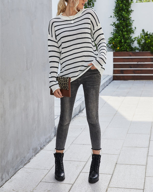 Finding Comfort Striped Oversized Sweater - White Sweaters oh!My Lady