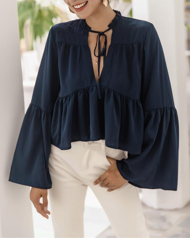 Flared sleeve drawstring top oh!My Lady