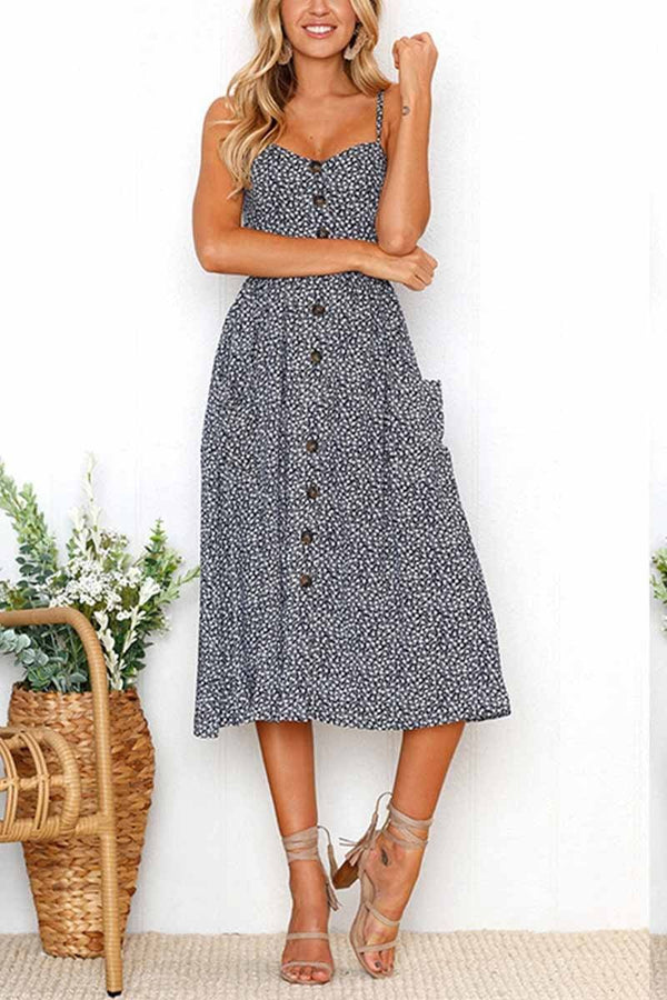 Floral Print Camisole Dress ohmylady/Dresses OML S Dark Blue