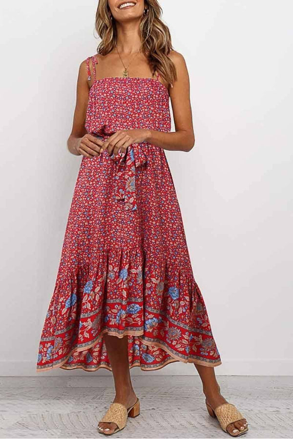 Flower Print Midi Dress( 3 colors) ohmylady/Dresses OML S Red