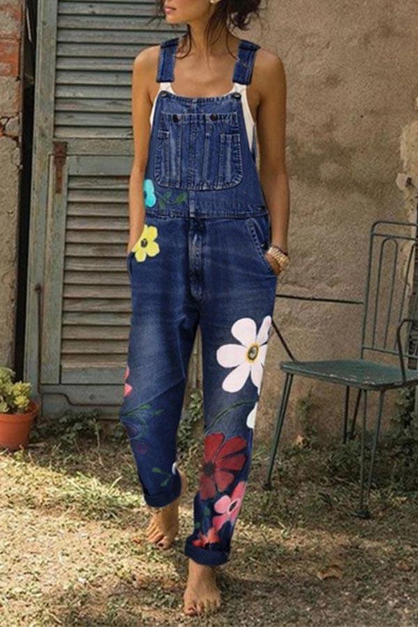 Flower-printed Baggy Jeans With Suspenders(3 Colors) ohmylady/Set - x OML Navy blue S