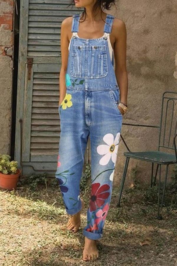 Flower-printed Baggy Jeans With Suspenders(3 Colors) ohmylady/Set - x OML Wathet blue S