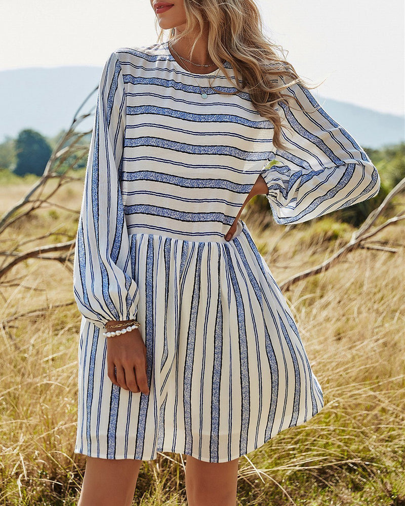 Forever Trendy Striped Puff Sleeve Babydoll Dress ShellyBeauty