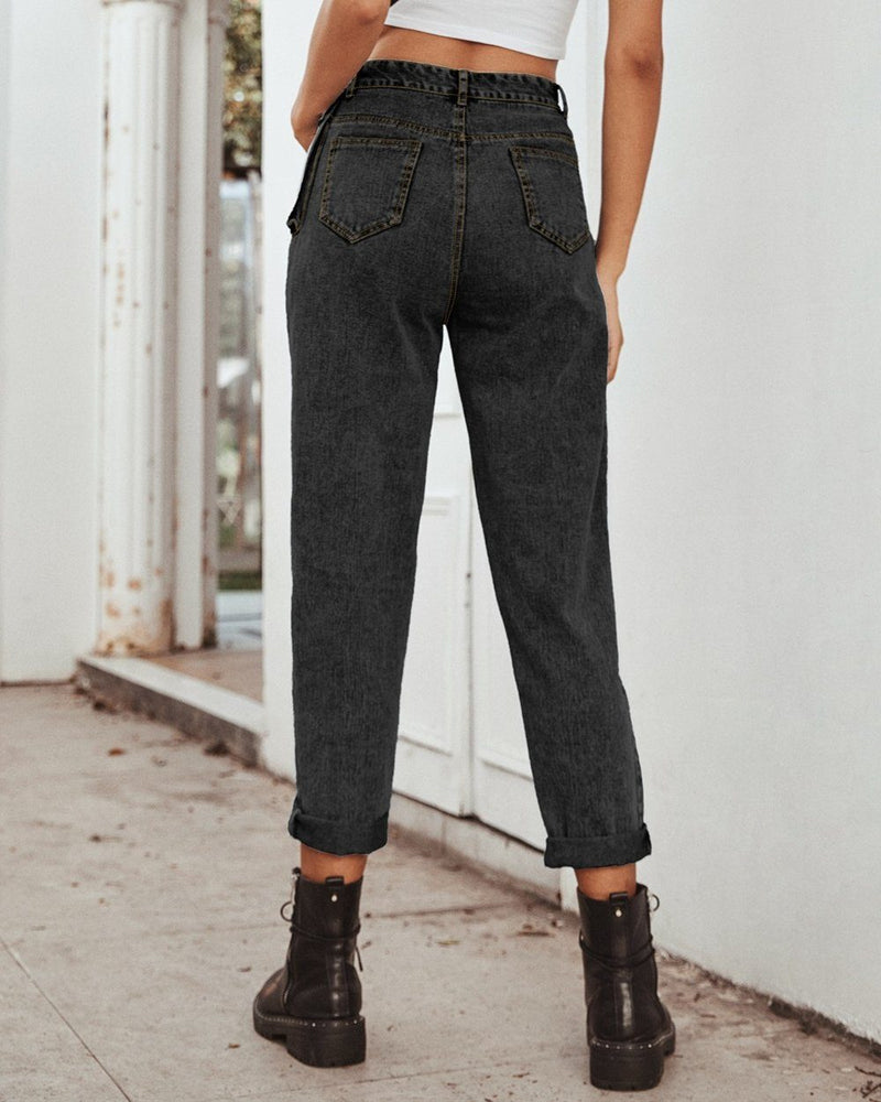 Free People High-Waisted Cargo Jeans - black oh!My Lady