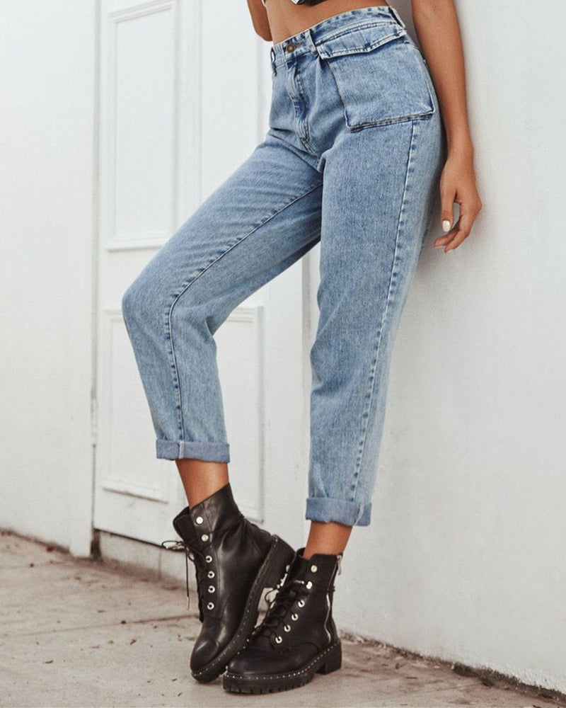 Free People High-Waisted Cargo Jeans - blue oh!My Lady