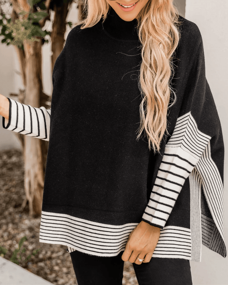 Free Year Knit Striped Poncho- Black oh!My Lady