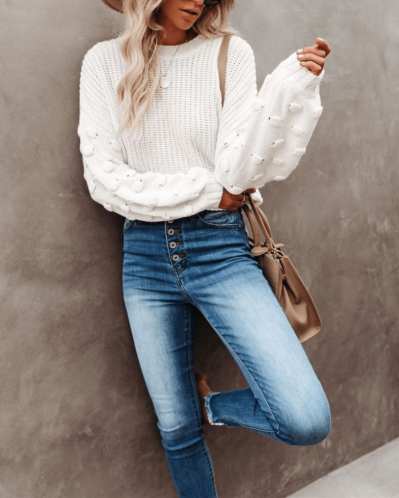 Full Of Cheer Cropped Knit Sweater - Ivory oh!My Lady