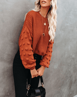 Full Of Cheer Cropped Knit Sweater - Rust oh!My Lady