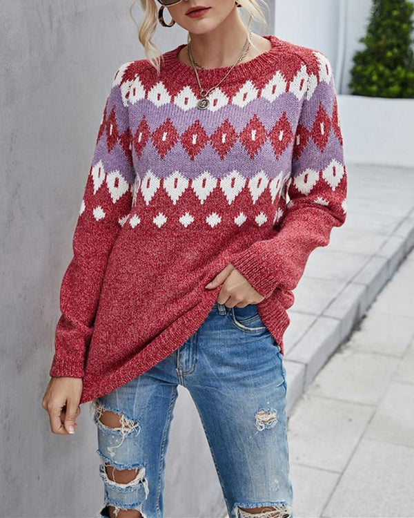 Geometric Knit Sweater - Red oh!My Lady