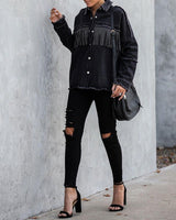 Greatest Hits Studded Fringe Denim Top oh!My Lady