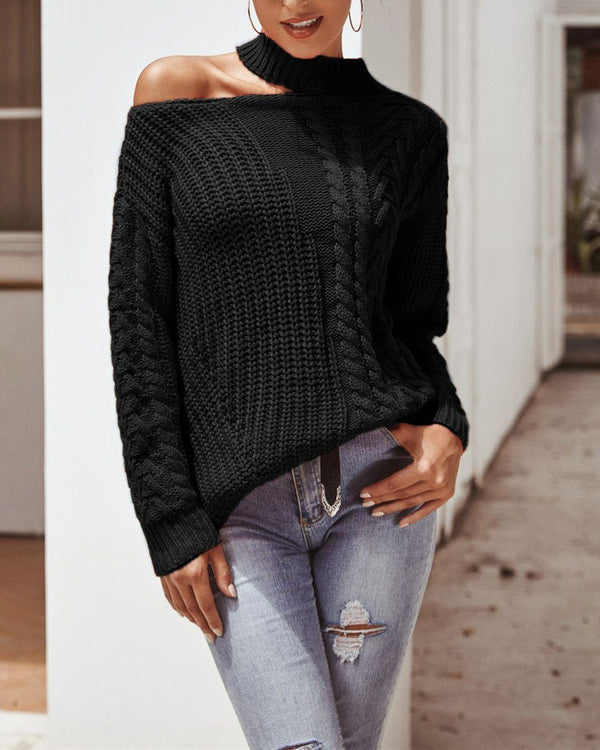 Halter Round Neck Strapless Sweater - Black oh!My Lady