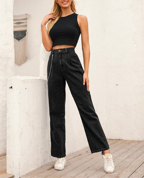 High-waisted Chain-straight Denim Trousers - Black oh!My Lady