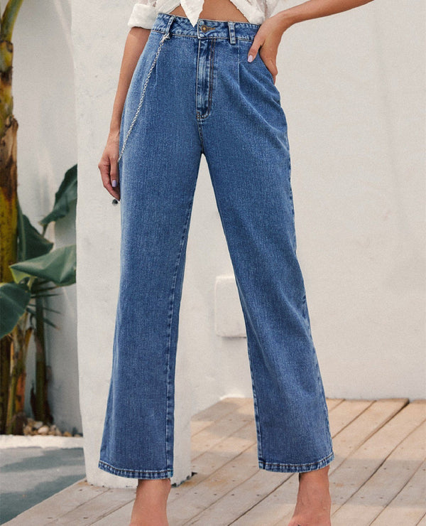 High-waisted Chain-straight Denim Trousers - Blue oh!My Lady