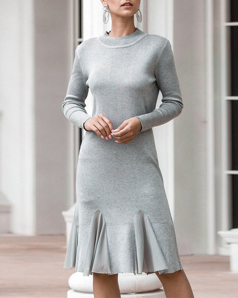 Hold On Casual Ruffle Knitted Dress - Grey oh!My Lady