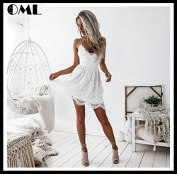 Sexy Deep V Neck Backless Lace Short Strap Midi Dress