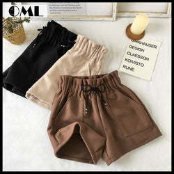 Women High Waist Solid Loose Thick Elastic Straight Booty Pocket Shorts