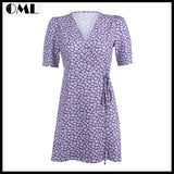 Mini Floral A-Line Casual Vintage Purple Dress