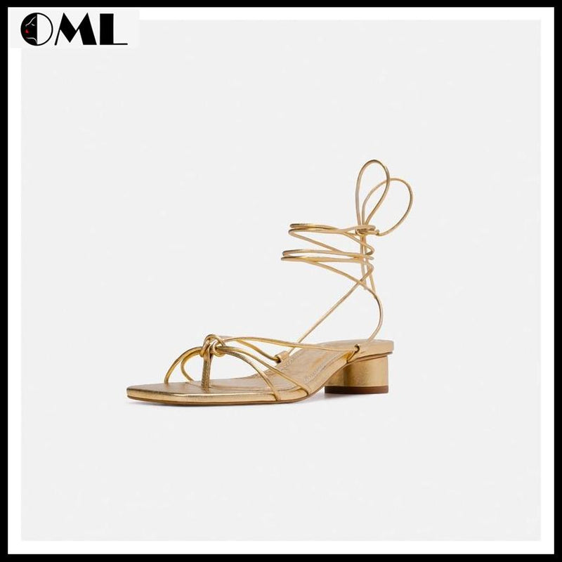 Low Heel Ankle Strap Open Toe Gladiator Sandal - oh!My Lady