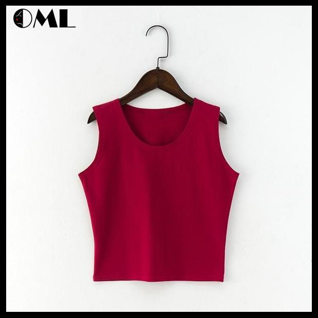 7 Color High Waist Round Neck Sexy Crop Cotton Tee Tops