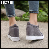 Vulcanized Platform High Heel Height Increasing Ankle Boots